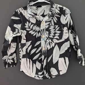 Baby Gap button up beach leaf print shirt